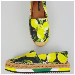 Dolce & Gabbana Lemon Print Espadrille Shoes
